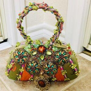 Mary Frances Satin Jewel Embellished Evening Bag
